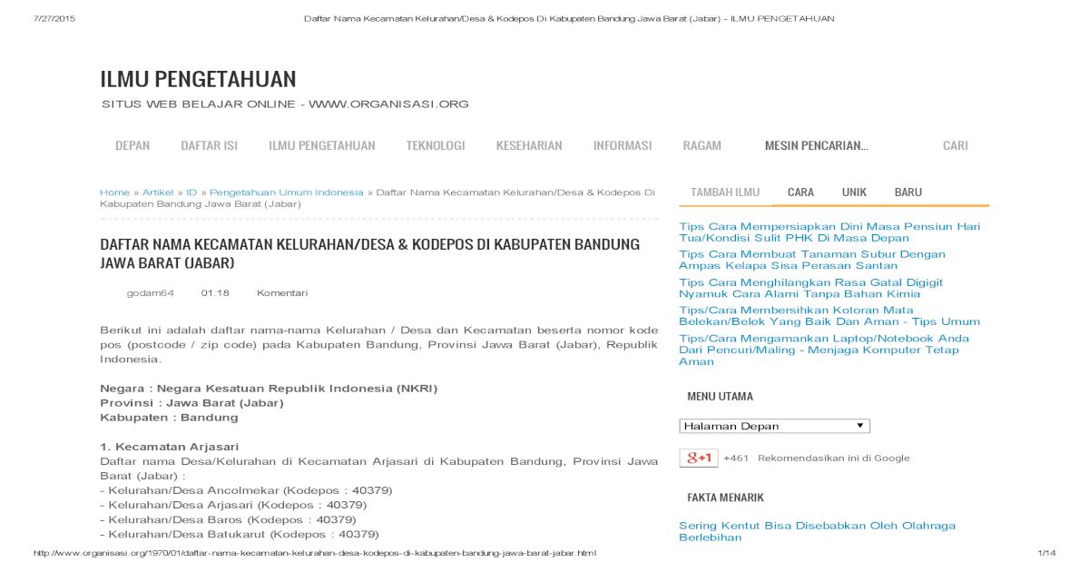 Kode Pos Bandung Barat - Berbagi Informasi