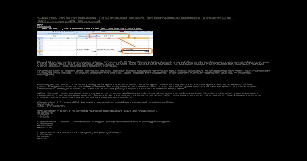 Cara Membuat Rumus Dan Memasukkan Rumus Microsoft Excel Docx Document