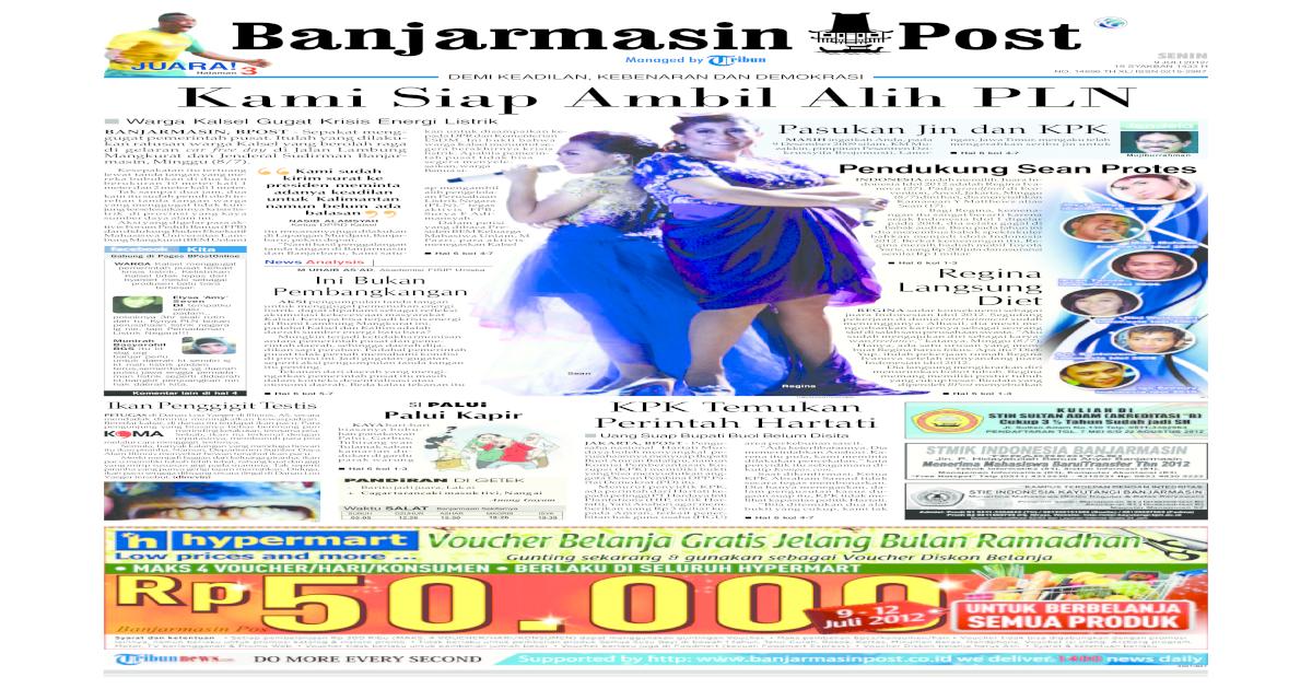 Banjarmasin Post edisi cetak Senin 9 Juli 2012 - [PDF Document]