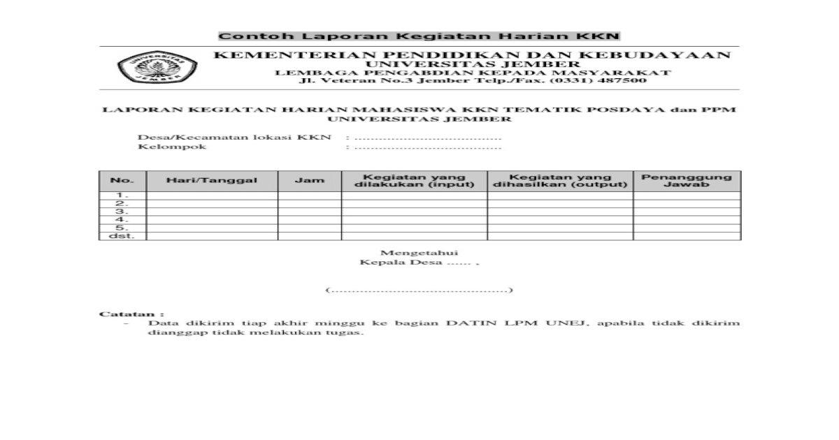 Contoh Formulir Kegiatan Harian Kkn Pdf Document