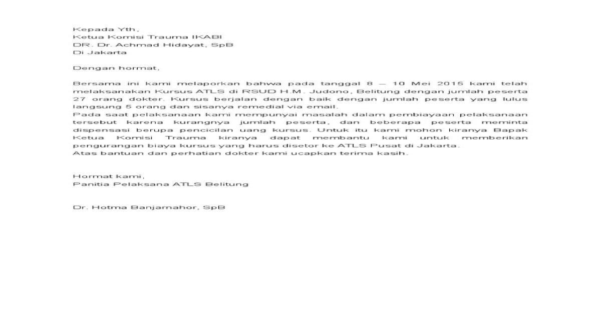 Surat Dispensasi Biaya Atlsdoc Pdf Document