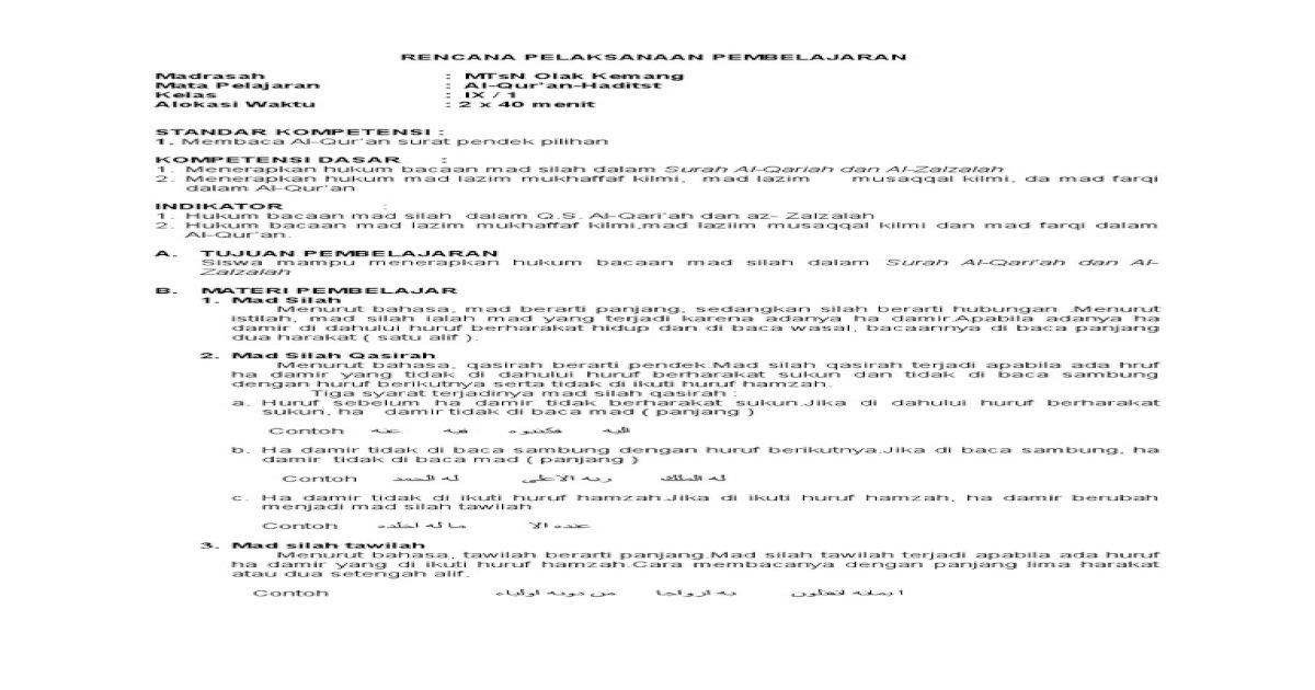 8 Rpp Qurdis Ix1 2 Pdf Document