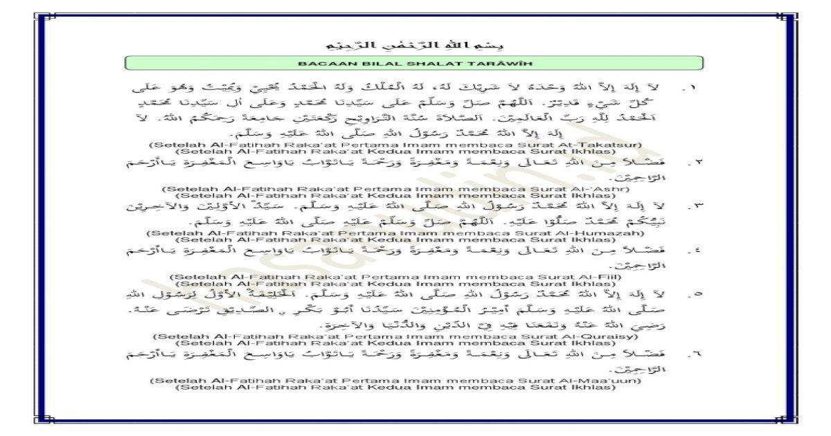 bacaan bilal shalat tarawih 23 rakaat lengkap pdf