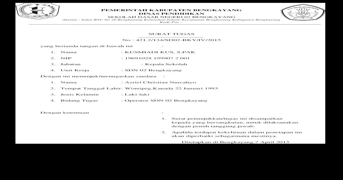 Surat Tugas Operator Dapodikdas Doc Document