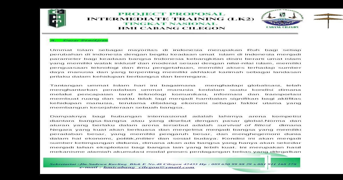 Project Proposal Lk 2 Hmi Cabang Cilegon Doc Document