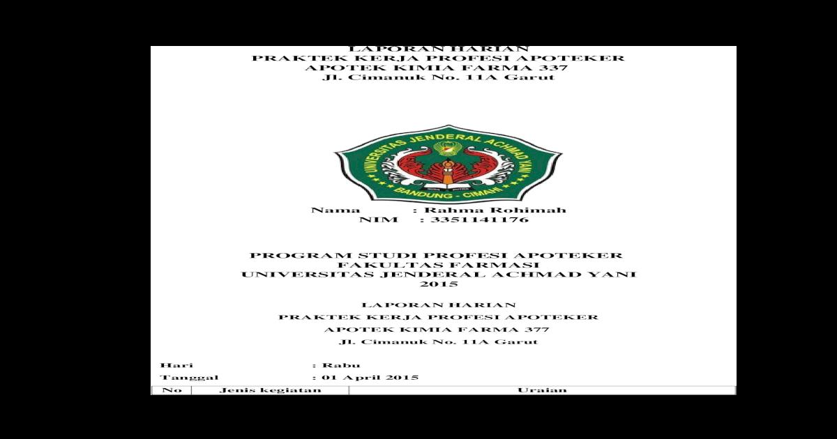 Lap Harian Pkpa Apotek Rahma Rohimah Docx Document