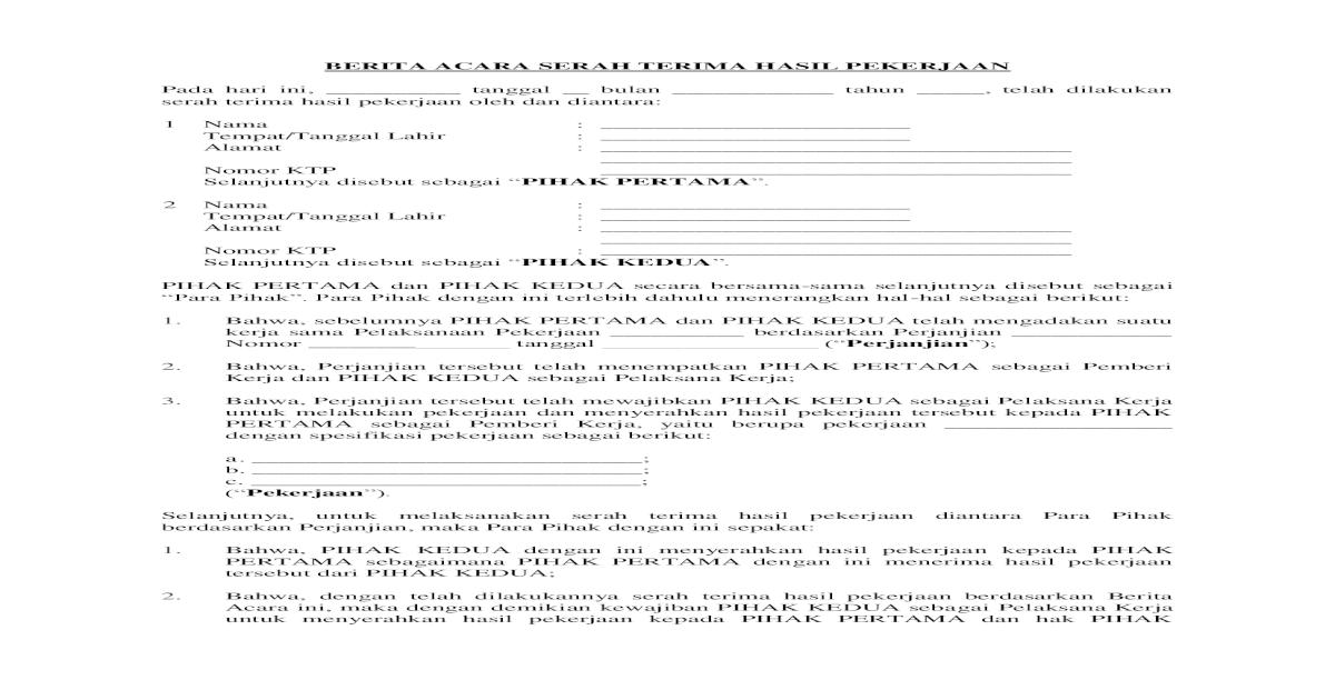 Berita Acara Serah Terima Pekerjaan Pdf Document
