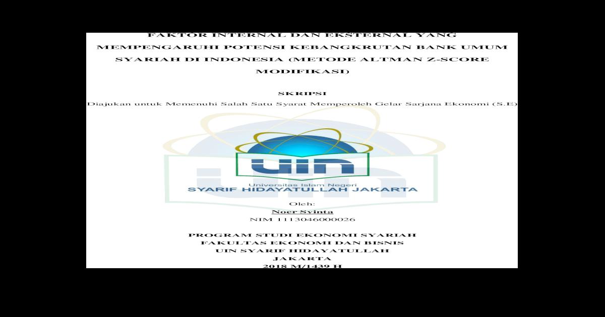 Skripsi Uin Jakarta Fakultas Ekonomi Pejuang Skripsi