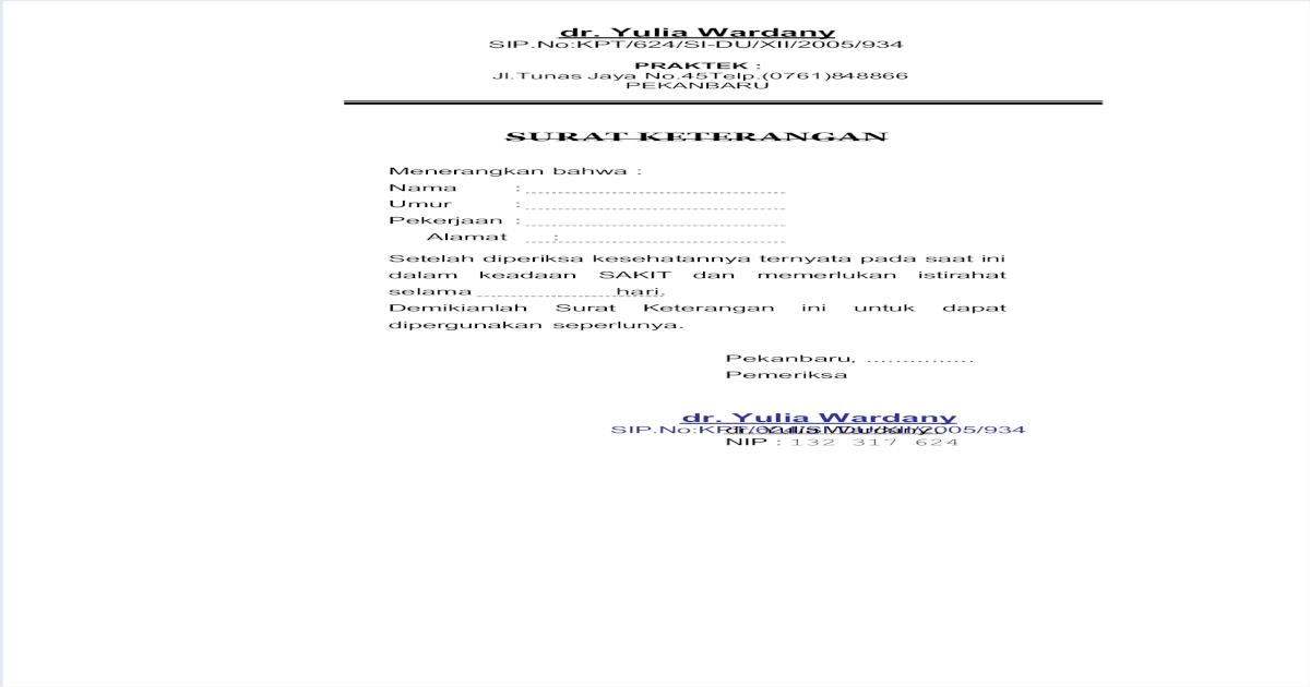 Surat Sakit Dokter Pdf | SuratMenyurat.Net