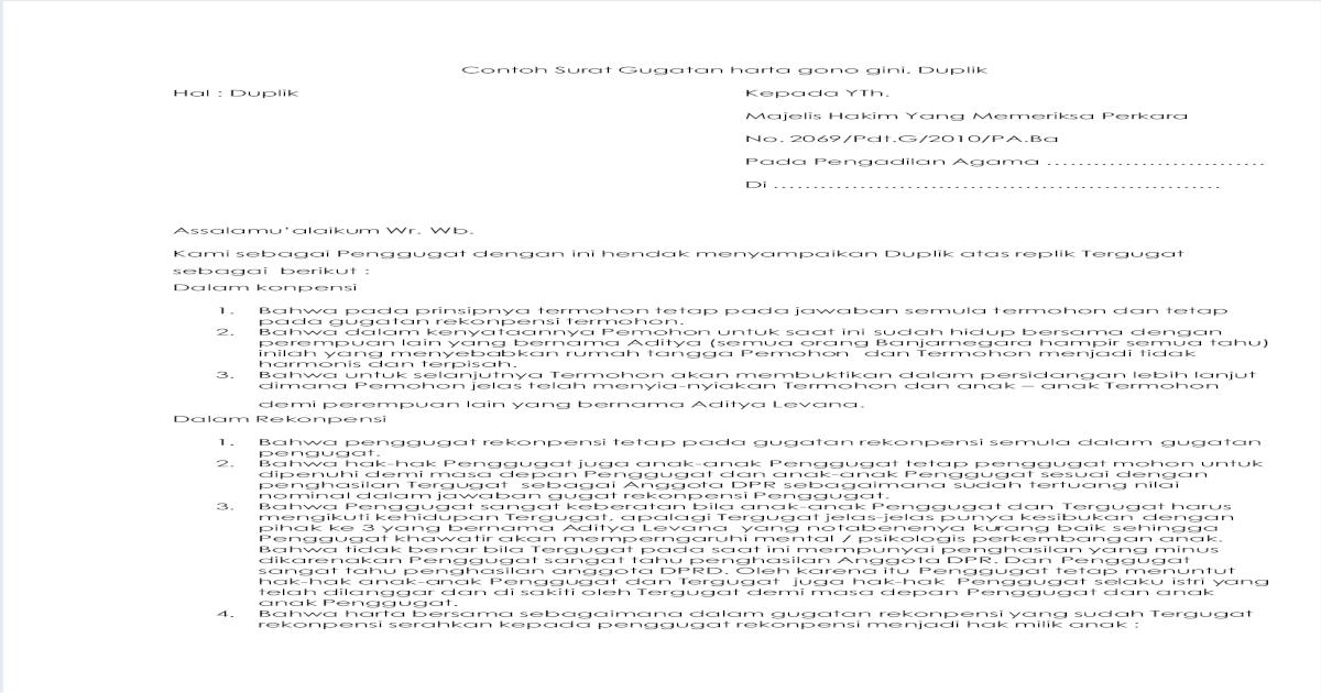 Contoh Surat Gugatan Harta Gono Gini Pdf Document